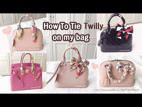 34857ba4cbf5 6 Ways to Tie Hermes Twilly (How to wrap Twilly onto Handbags: Birkin/  Kelly/ Lindy/ Garden Party) - YouTube