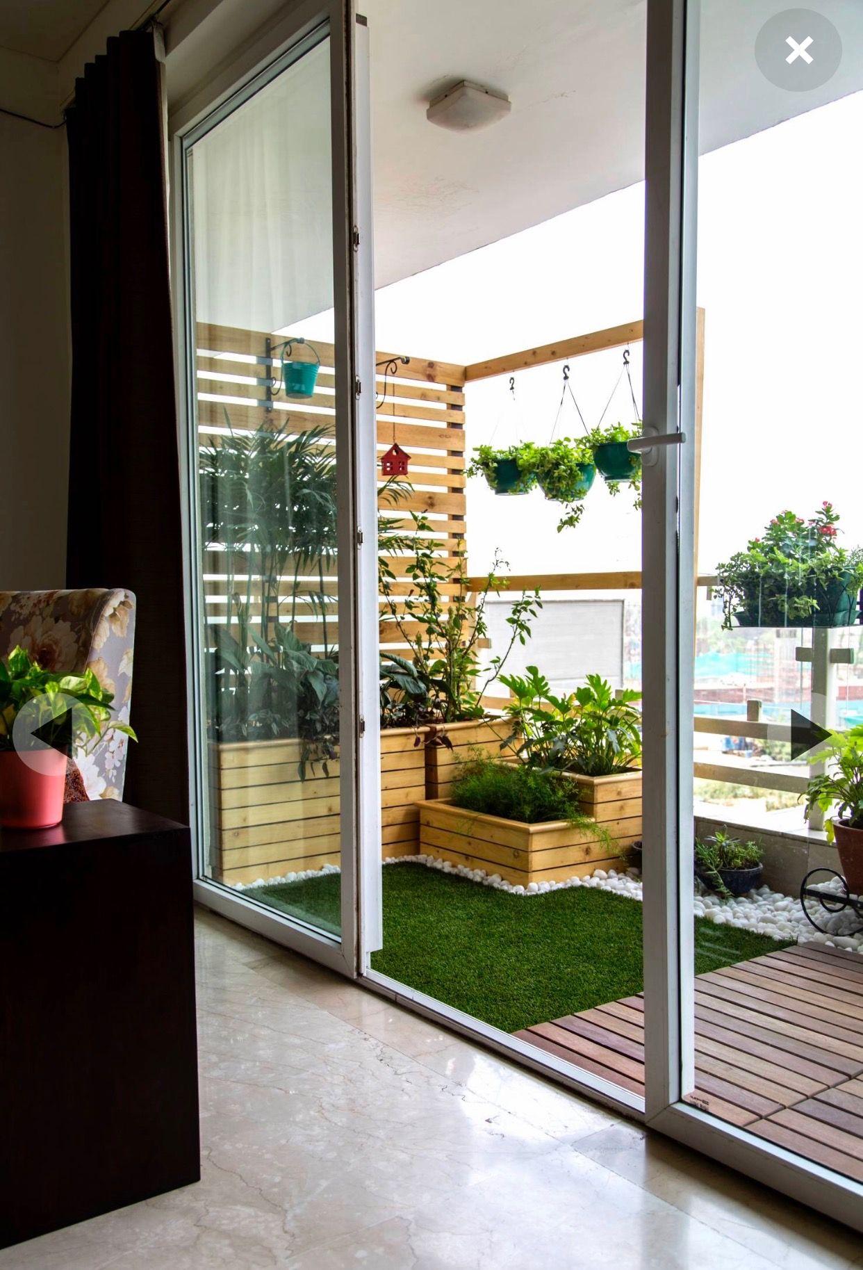 sliding door and dark curtains! views | Small balcony garden ...