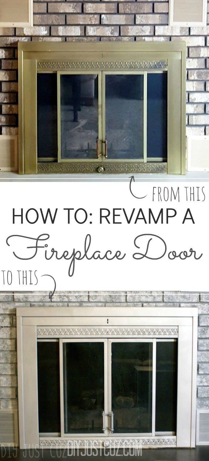 Sick Of Looking At That Brassy Gold Fireplace Door? Give It A Make Over  With Just A Can Of Spray Paint!