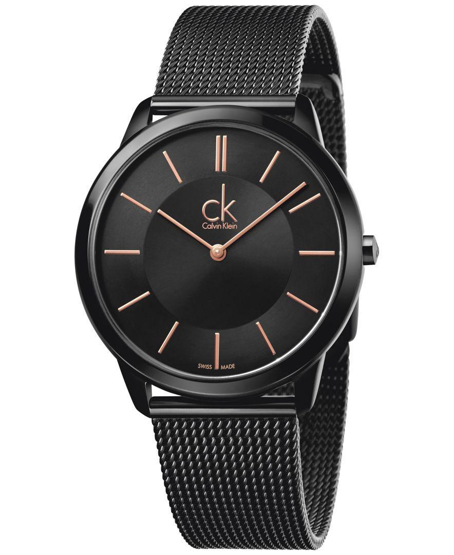 53c5b31db2 Calvin Klein minimal Men's Swiss Black Pvd Stainless Steel Mesh Bracelet  Watch 40mm K3M21421
