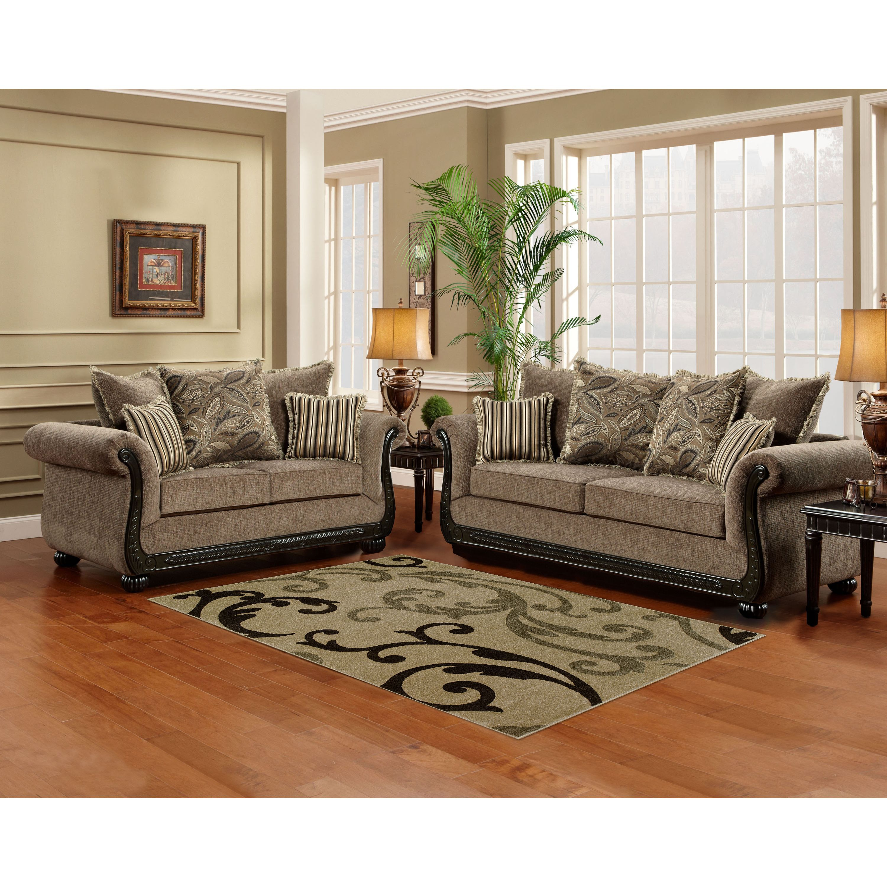 Sofa Trendz Brooke Taupebrown Woodmicrofiber Sofa And Loveseat Fair Wooden Living Room Set Decorating Design