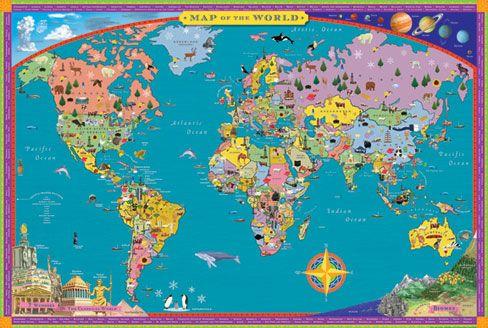 Great World Map For The Kiddos Kids Stuff Pinterest - World wall map kids