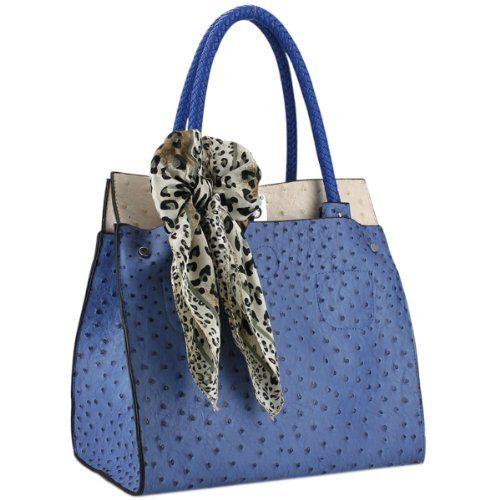 Merveilleux DORIT Blue / Beige Ostrich Embossed Designer Inspired Top Double Handle  Office Tote Satchel Hobo Daybag