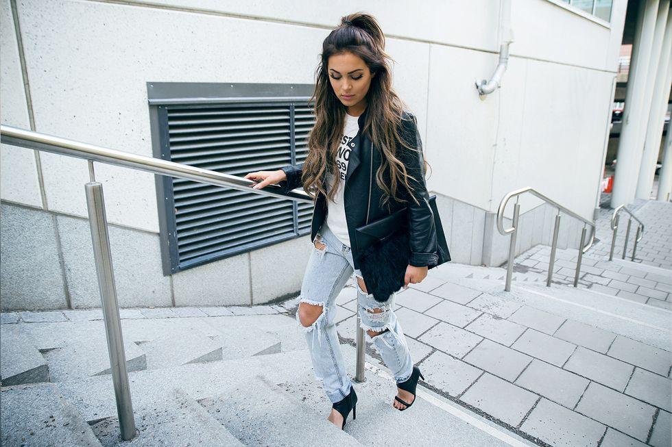 street style, fashion, long brown hair, girl, swedish, blogger, Fanny Lyckman, beautiful, denim, ripped jeans, leather jacket, shirt, shoes, bag, black, working girl, #alwaysready
