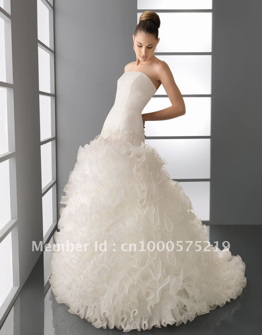 Best wedding dresses aliexpress  Best selling New Collection Strapless Mermaid Bandage Chiffon Fold