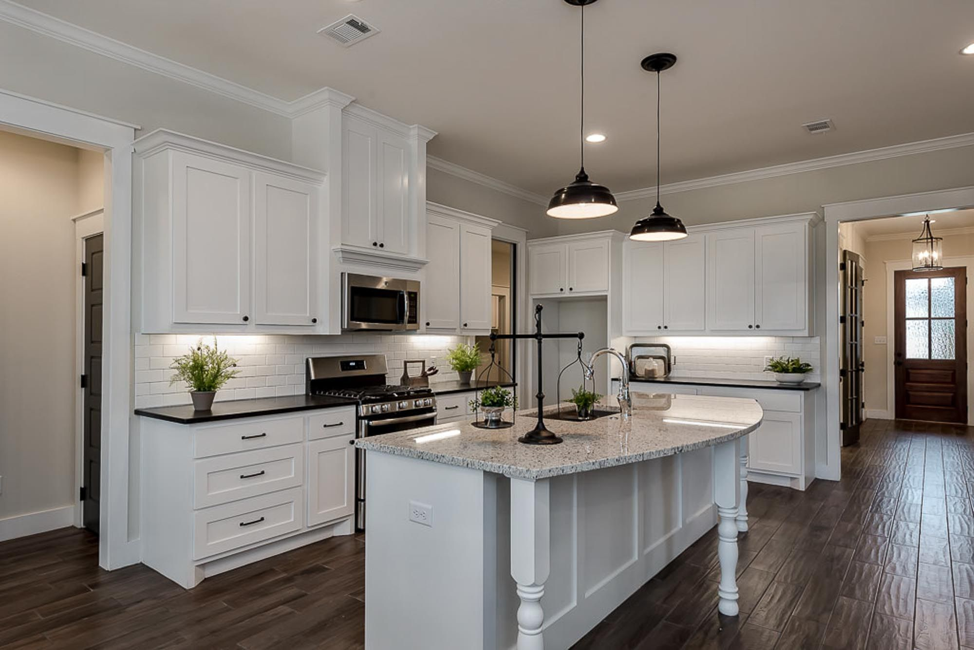 Open concept white kitchen inspiration with large island   Kitchen ...
