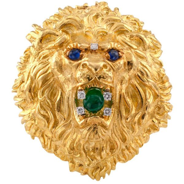 Pre-owned David Webb Lion Head Brooch/Pendant ($15,000) ❤ liked on Polyvore featuring jewelry, brooches, cabochon pendant, lion jewelry, lion pendant, 18k pendant y david webb