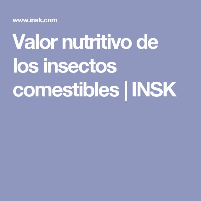 Valor nutritivo de los insectos comestibles   INSK