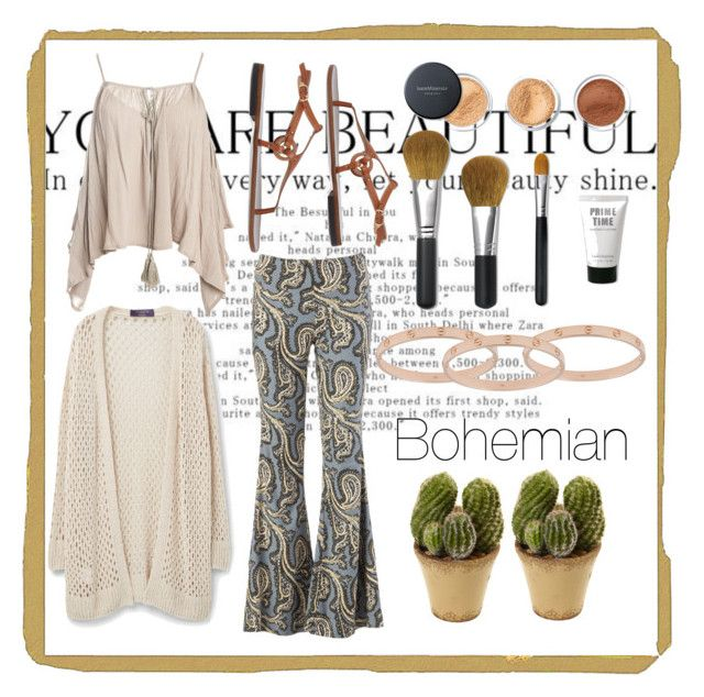 """Bohemian"" by fashionkingny ❤ liked on Polyvore featuring Free People, Cartier, L'Autre Chose, Sans Souci, Violeta by Mango, Bare Escentuals and Nearly Natural"