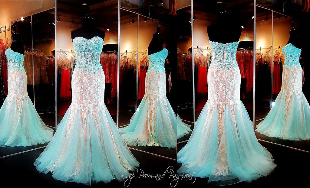 Ivory Mint Mermaid Prom Dress-Lace-Choker Neckline-Illusion Back ...