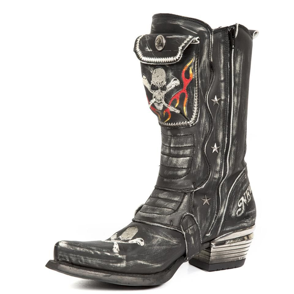 5a504273664 New Rock Black Leather Cowboy Boots M.WST022-S1 in 2019 | Boots ...