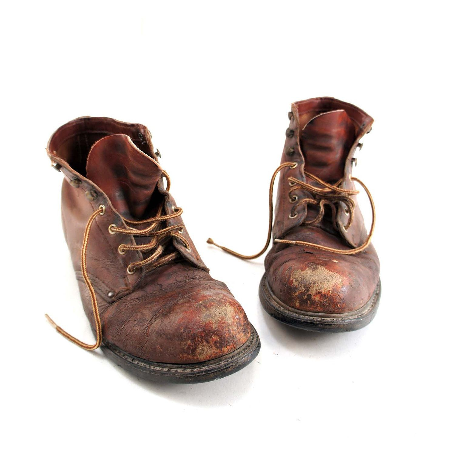74ae2f42a5aa0 Distressed Steel Toe Work Boots in Old Fashioned Miner Style for a ...