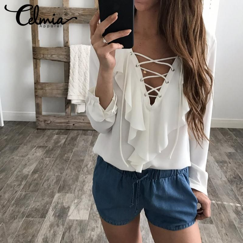 4ebc6ce6979 Spring Summer Women Chiffon Blouse Lace Up V Neck Ruffles Long Sleeve Black White  Tops Casual Plus Size Shirts