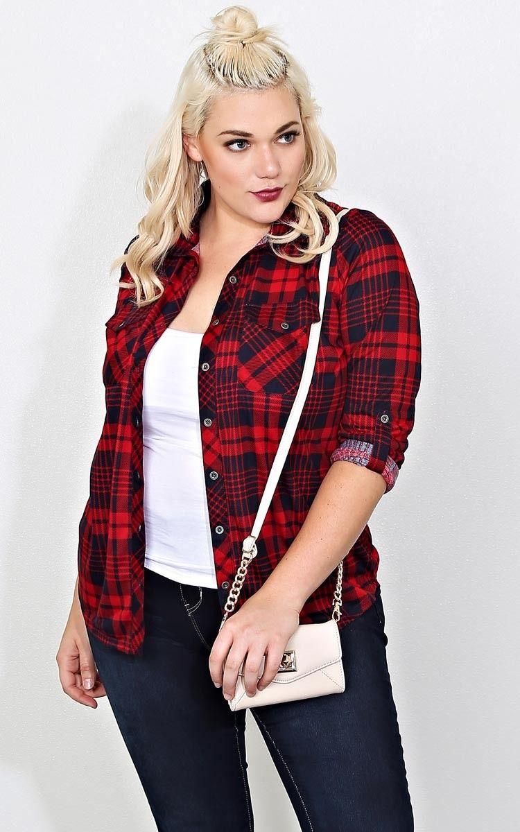 Plus size womens flannel shirt  Plus Tomboy Babe Plaid Top  Plus Size  Shop  fashion looks