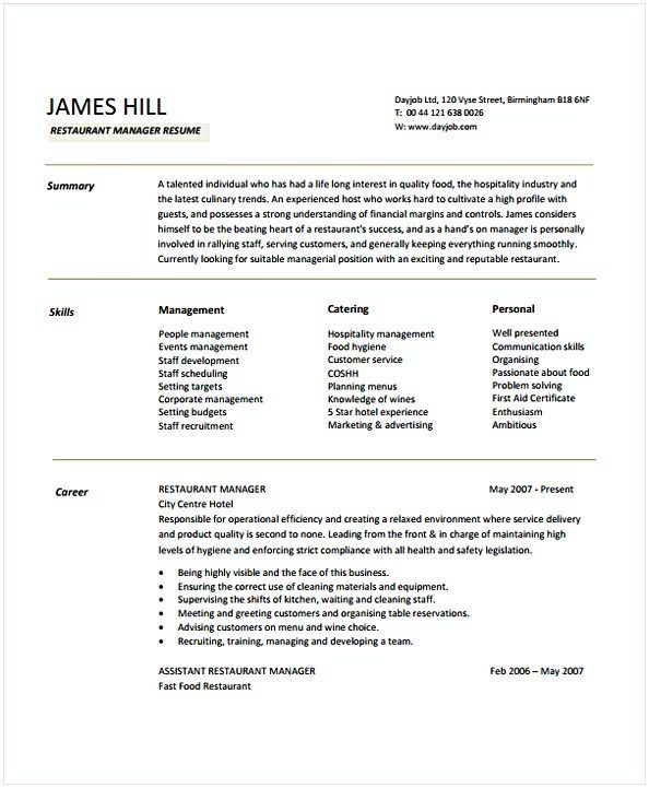 Restaurant Manager Resume Sample 1 , Hotel and Restaurant Management ...