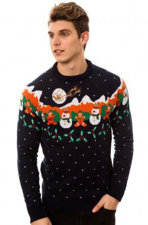 D-Struct The Enuk Novelty Christmas Crewneck Sweater in Navy