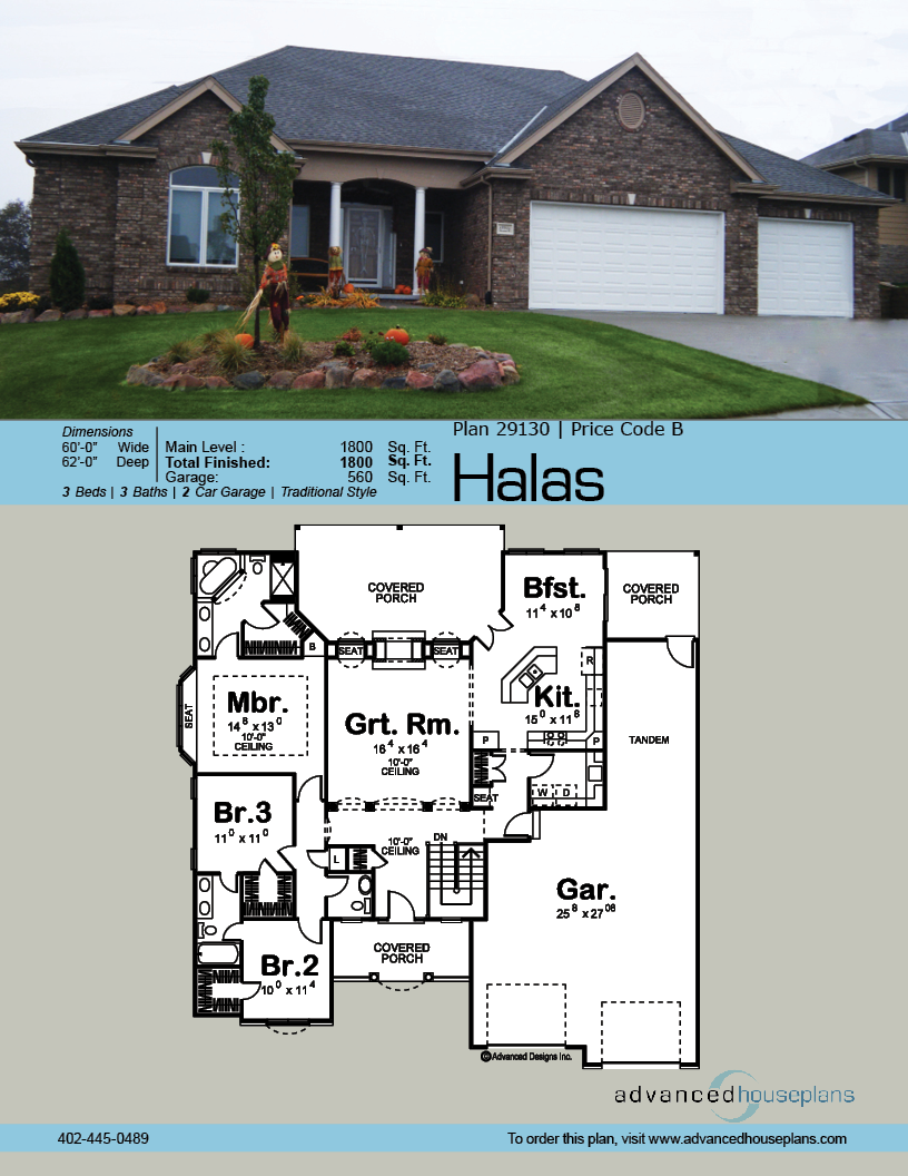 1 Story Traditional House Plan Halas House Plans Modern Bungalow House Ranch House Plans