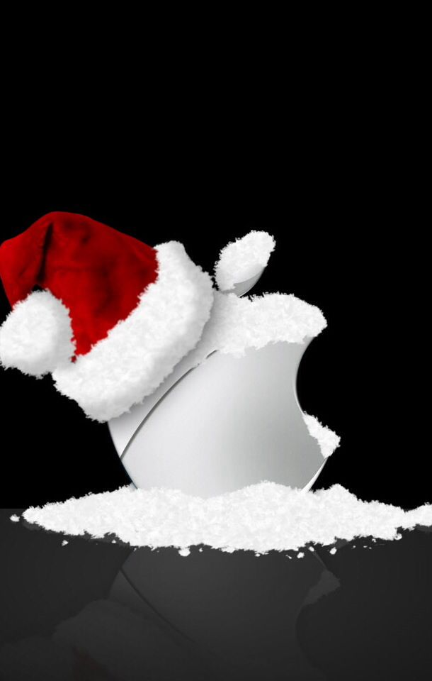 White Snowy Apple In Hat Wallpaper Iphone Christmas Apple