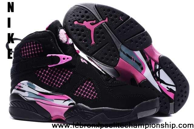 Buy Cheap Air Jordan 8 Embroidery Retro Pure Black Pale Purple White