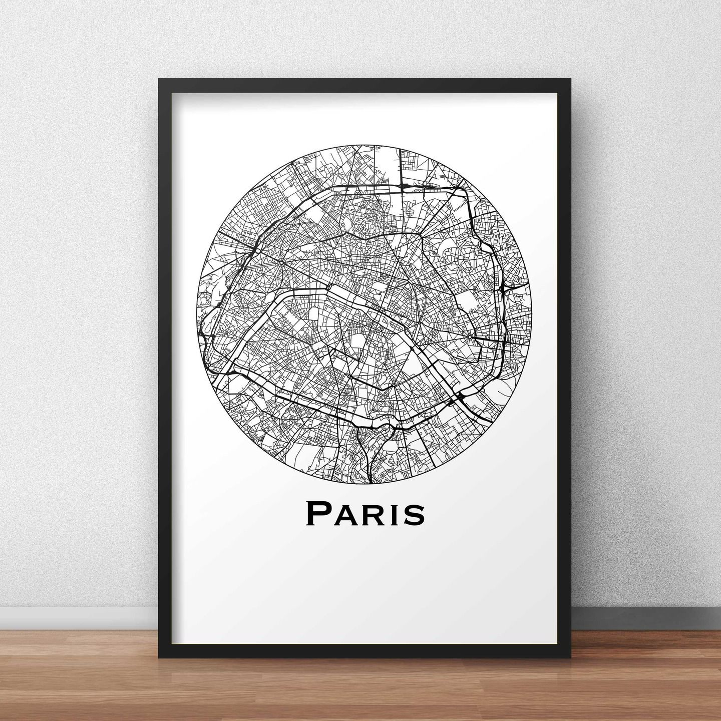 affiche a4 carte paris minimalist map city map poster de ville d coration murale plan de. Black Bedroom Furniture Sets. Home Design Ideas