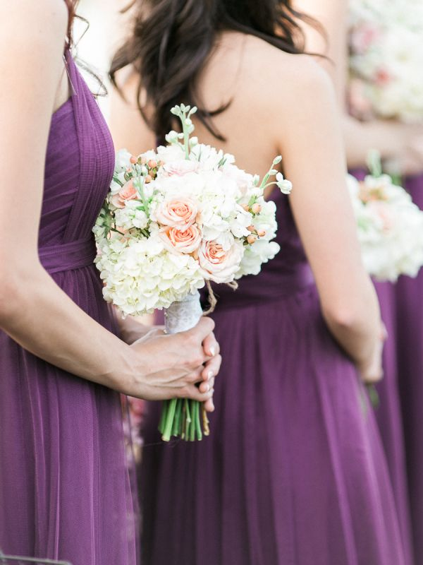 Purple Bridesmaids Dresses with Blush Bouquets made of blush hued ...