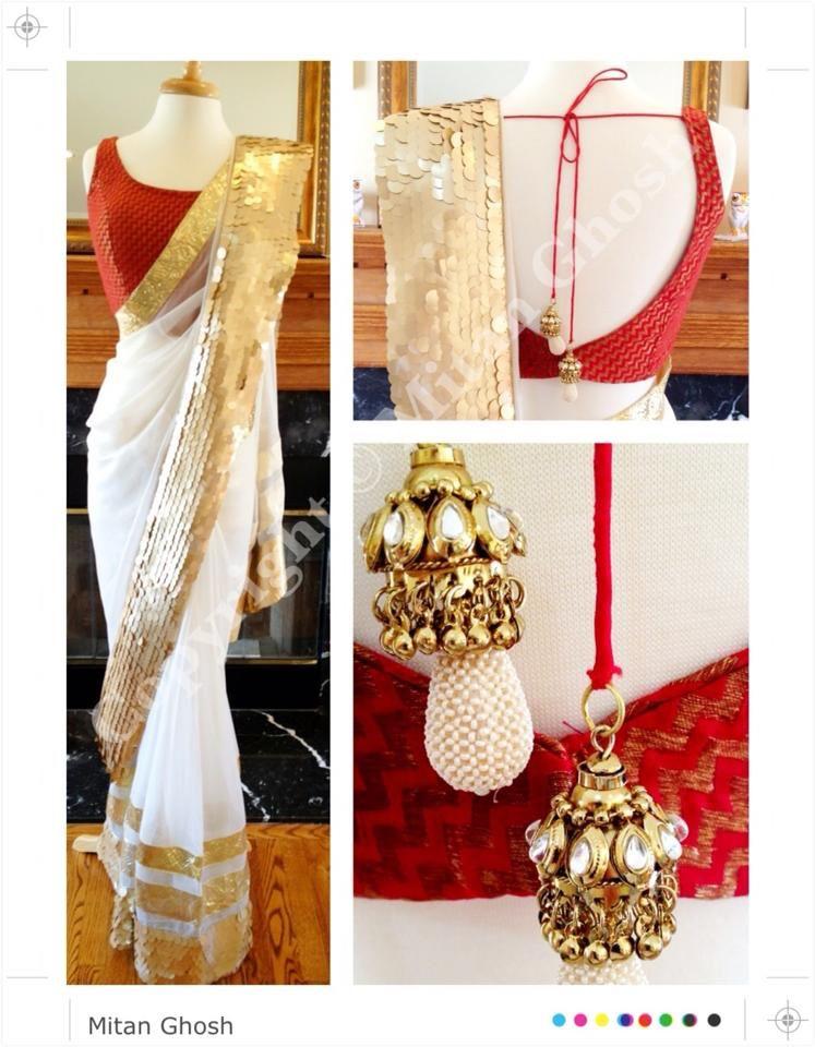 Red And White Combination Saree Mitan Ghosh Designs