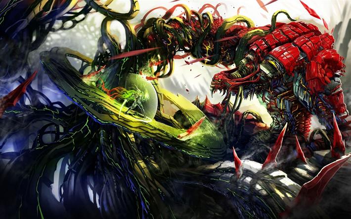 Download Wallpapers Robots Art Battle Monsters Warriors Besthqwallpapers Com Arte Fantasia Guerreros Monstruos