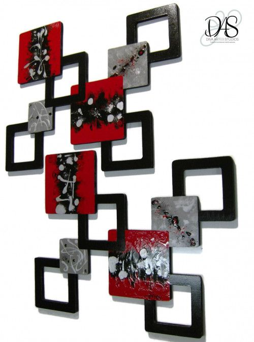 Red Black Gray Geometric Squares Wall Sculpture wall ...