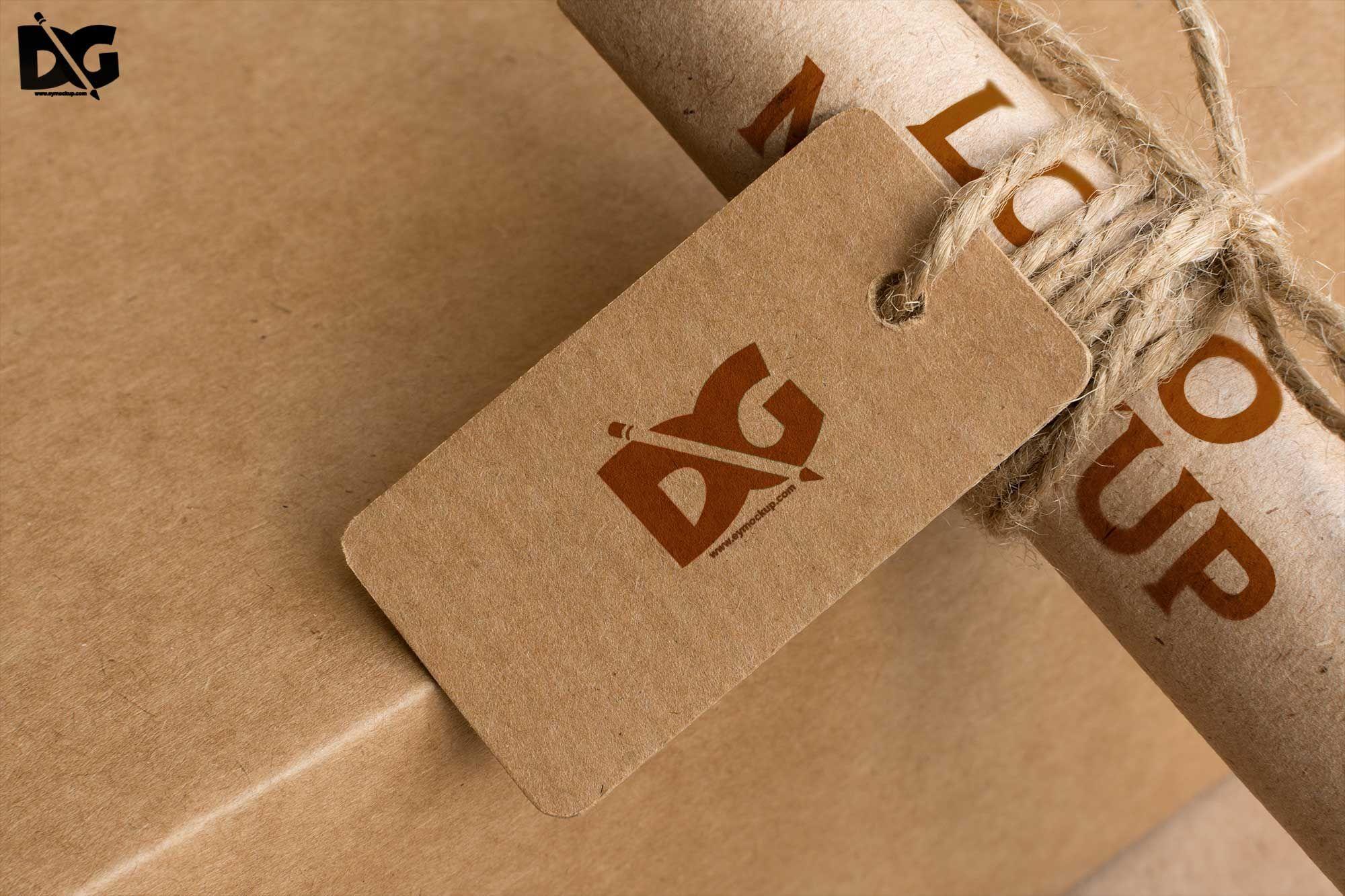 Paper Roll Tag Logo Mockups download free freemockup