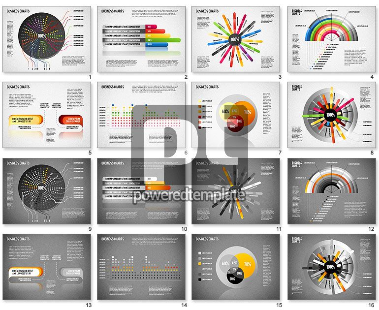 creative business presentation set powerpoint charts and diagrams