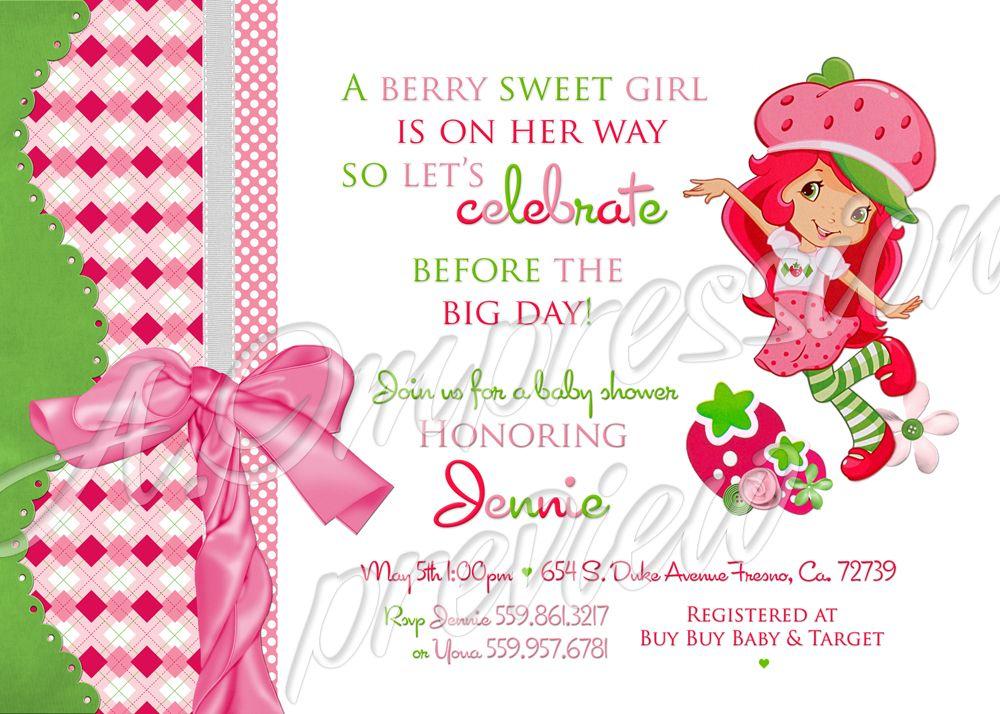 Strawberry Shortcake Baby Shower Invitation Invitations Party