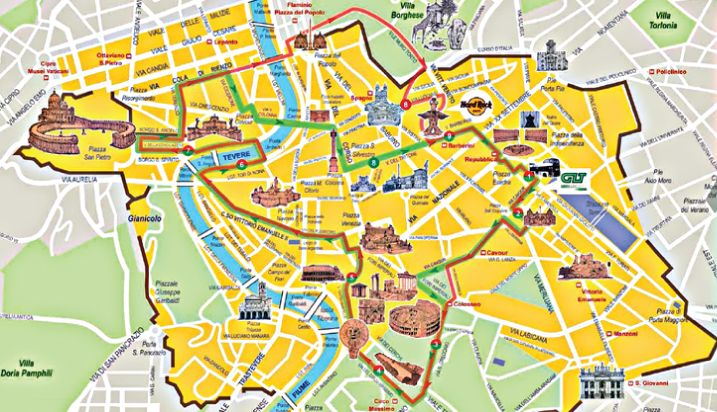 rome hop on bus routes map - Google Search | Voyage