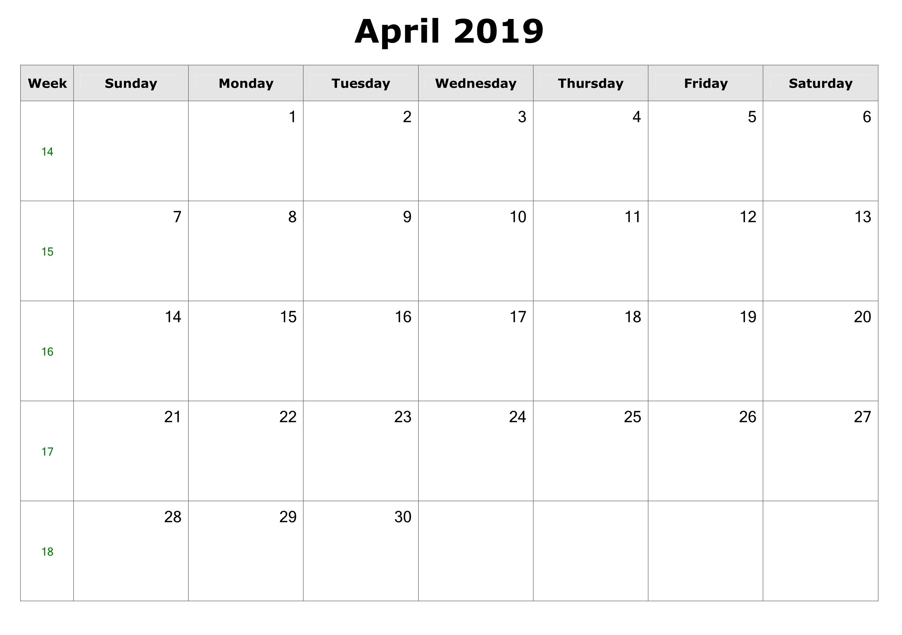 Editable April 2019 Word Calendar Templates Calendar Template