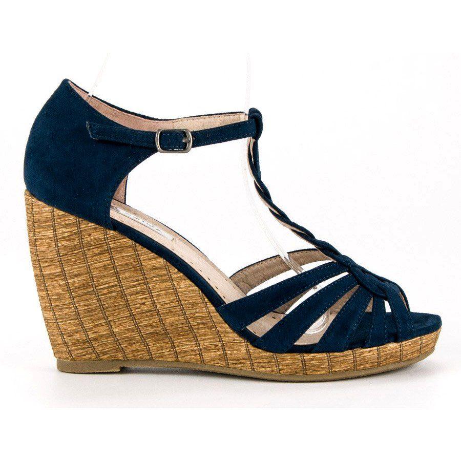 10255f78e439a Sandały #Damskie #Corina #Niebieskie #Wygodne #Sandały #Na #Koturnie ...