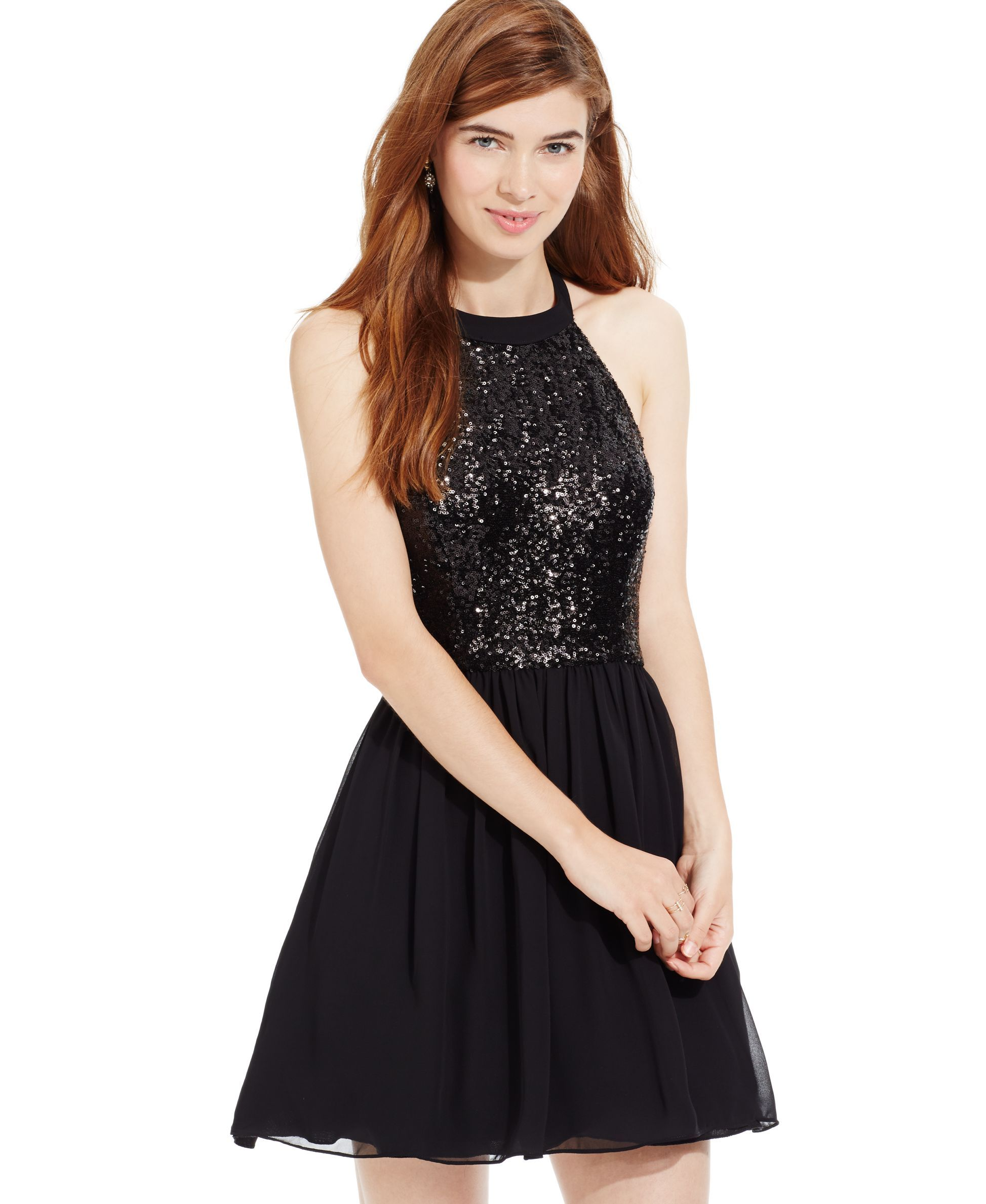 B Darlin Juniors\' Sequin Halter Fit-and-Flare Dress | macys.com ...