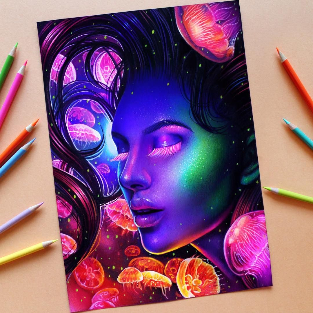 New Drawing Done With Prismacolor Premier Colored Pencils On Canson Colorline Magenta Paper Finished Off With Ne Colorful Drawings Glowing Art Prismacolor Art