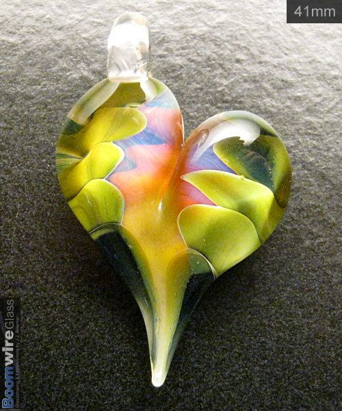 glass heart lampwork pendant necklace focal handmade by Boomwire on Etsy, Sold