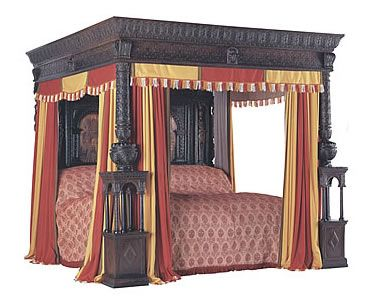 the most famous four poster bed is the great bed of ware which can be seen in the victoria and albert museum london this was probably made for sir henry