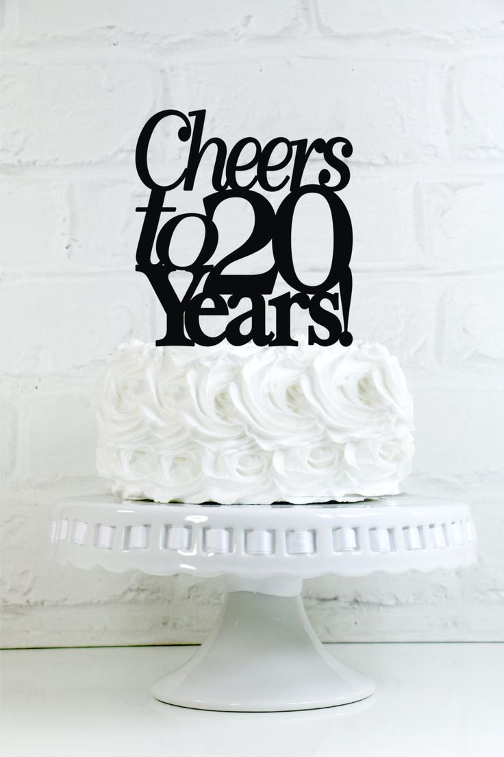 Cheers to 20 Years 20th Anniversary or Birthday Cake Topper or #20thanniversarywedding