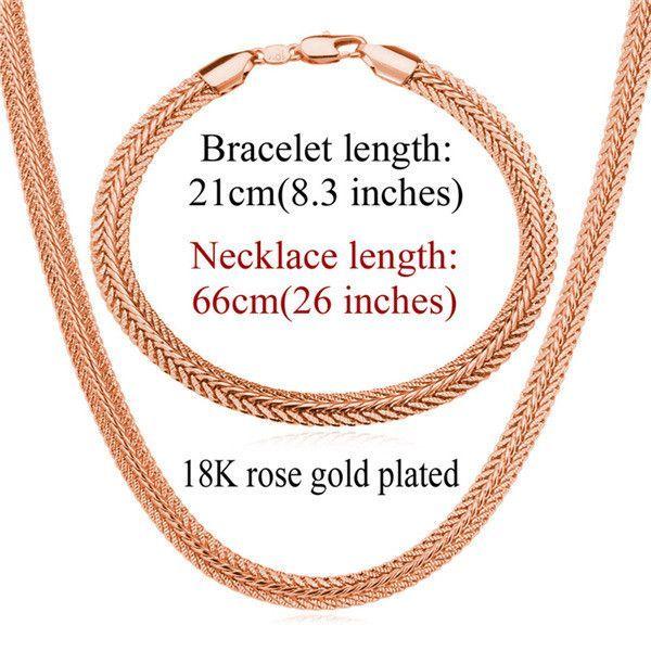 Unique 18K Gold/Rose Gold/Platinum Plated Snake Chain Necklace & Bracelet