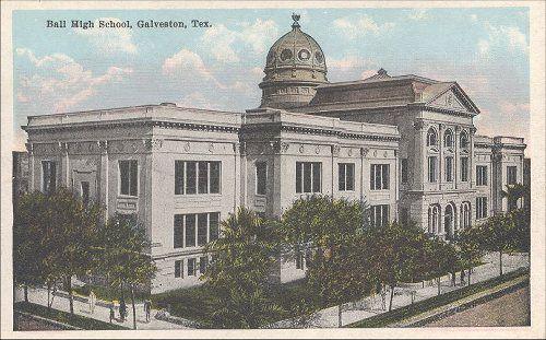 Old Galveston, Texas Postcards, BALL HIGH SCHOOL,