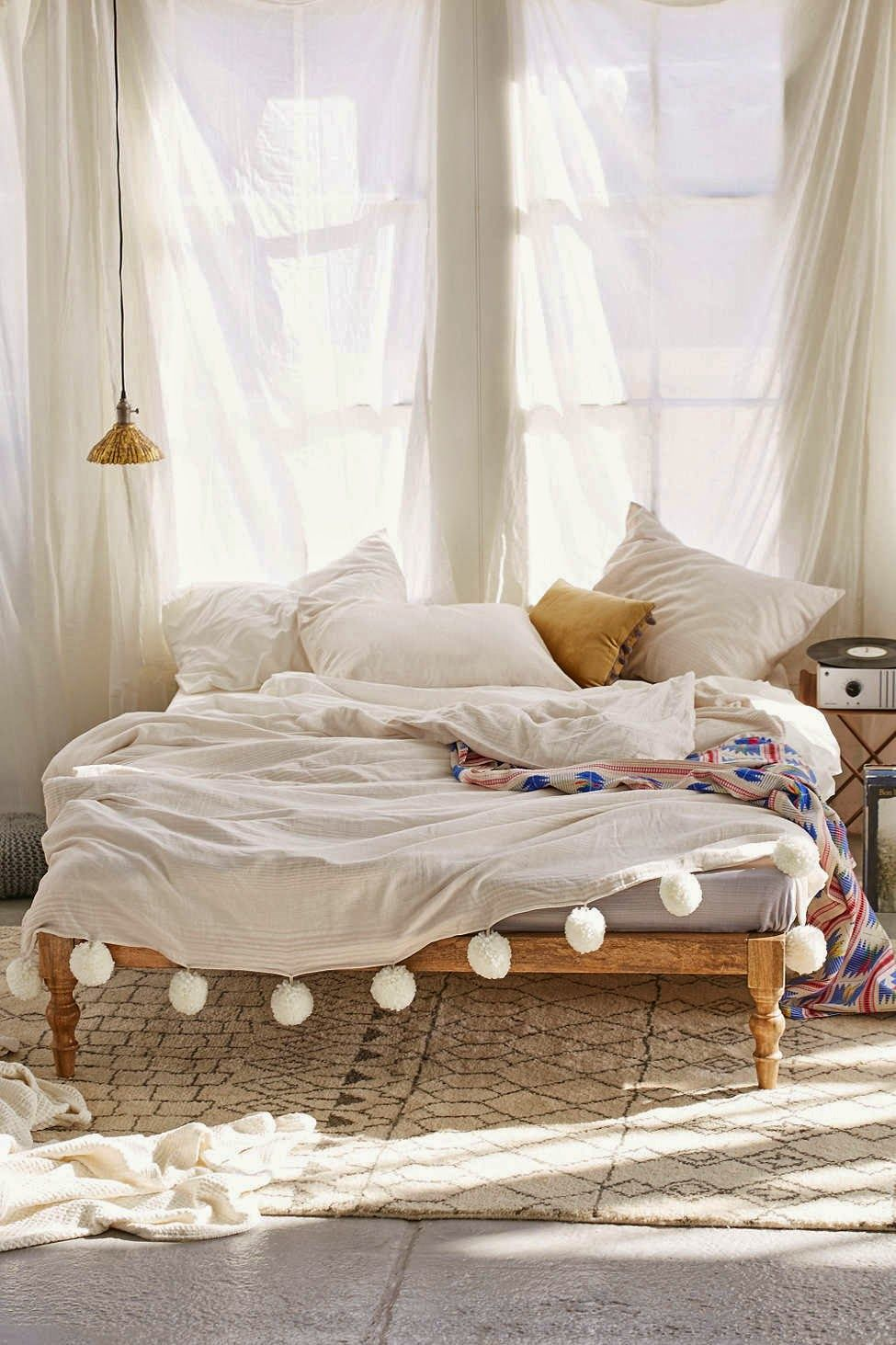 dreamy rustic bedroom (daily dream decor) | pom poms, boho and