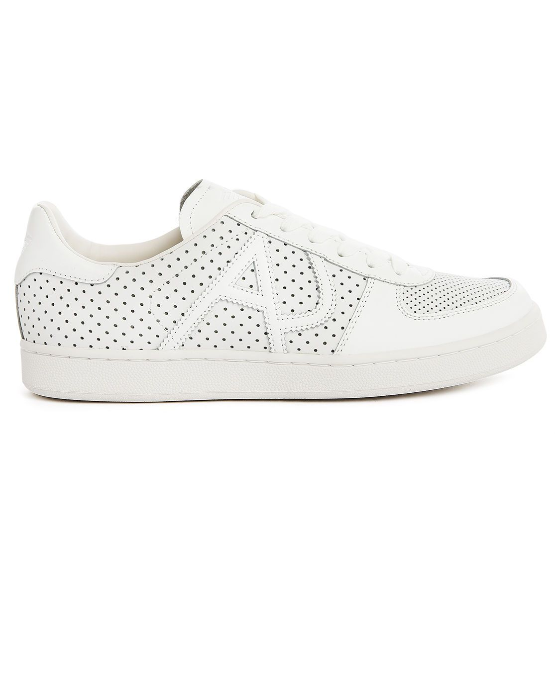 9456c68bd5cd Armani jeans White Perforated Leather Sneakers in White for Men | Lyst
