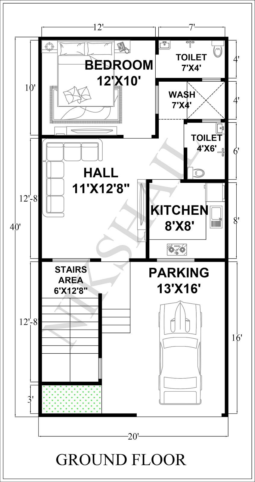 20x40 House Plan With 3d Elevation By Nikshail 20x40 House Plans 20x30 House Plans House Plans