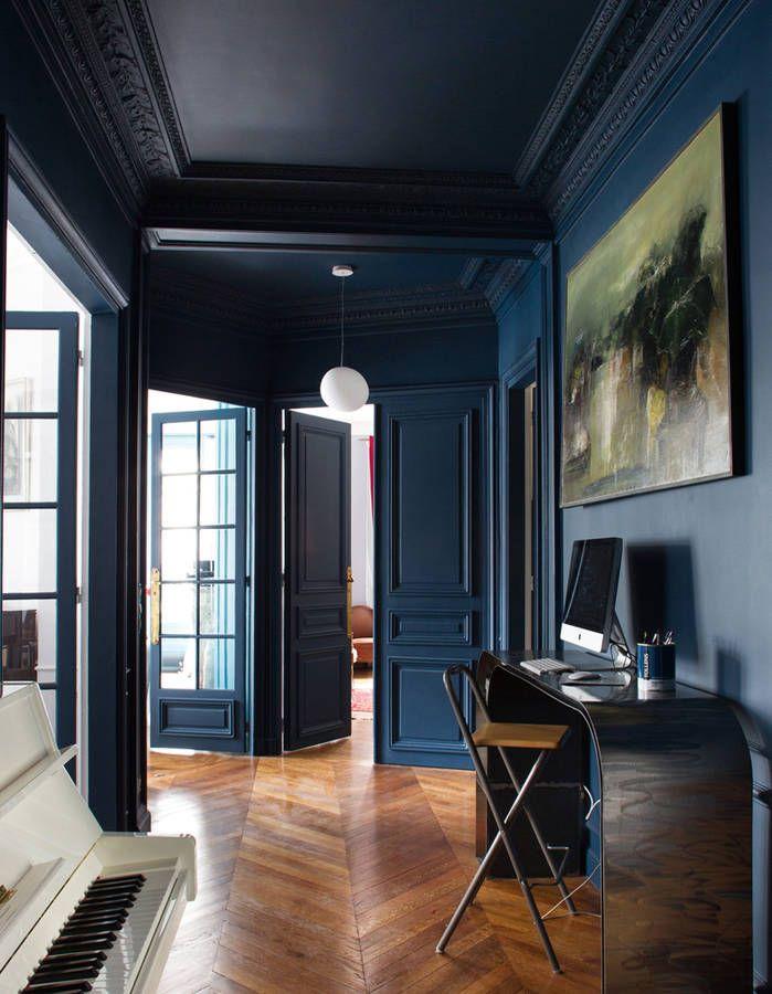 De la peinture bleu marine projet pinterest la for Peinture bleu mur