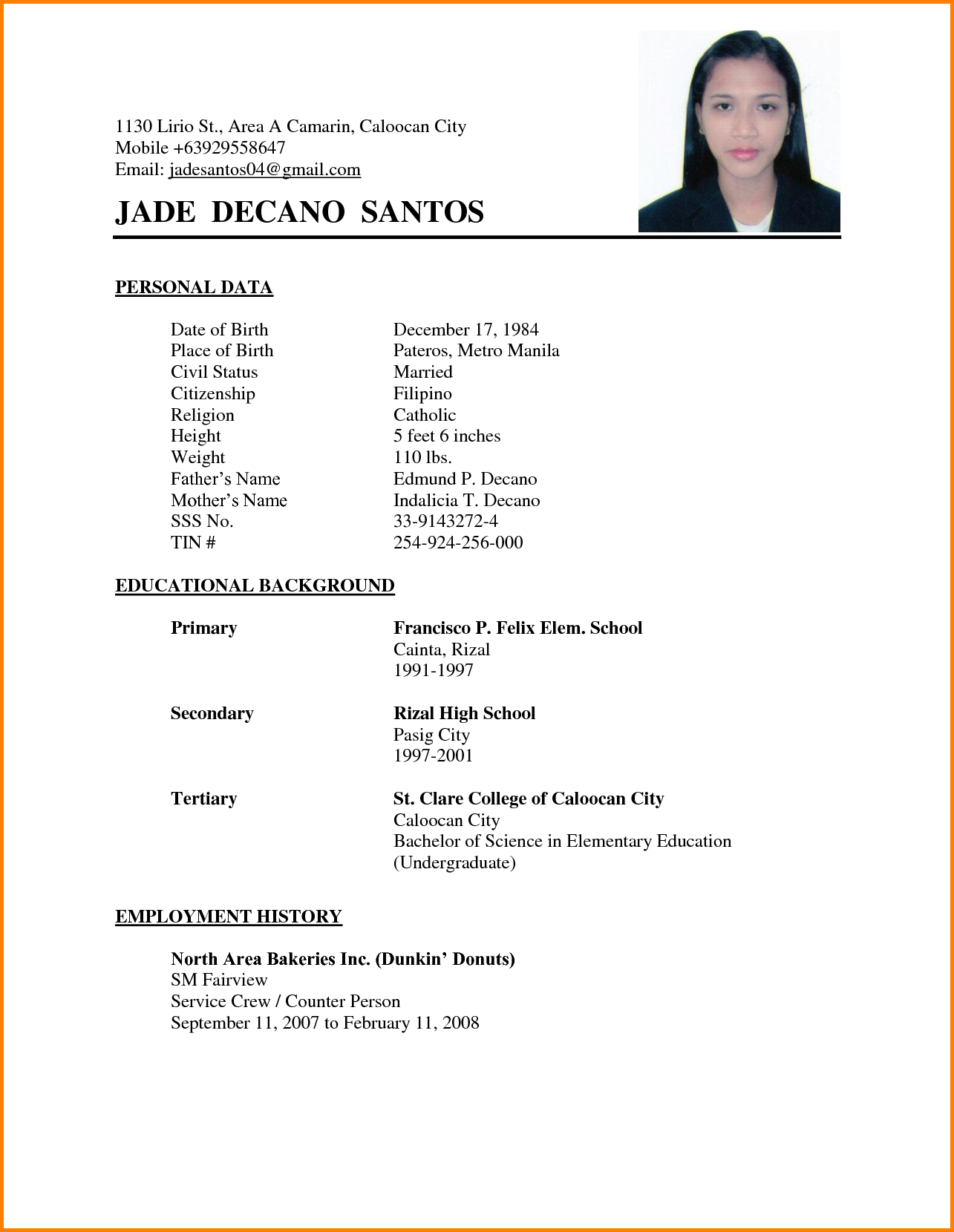 simple resume sample for service crew