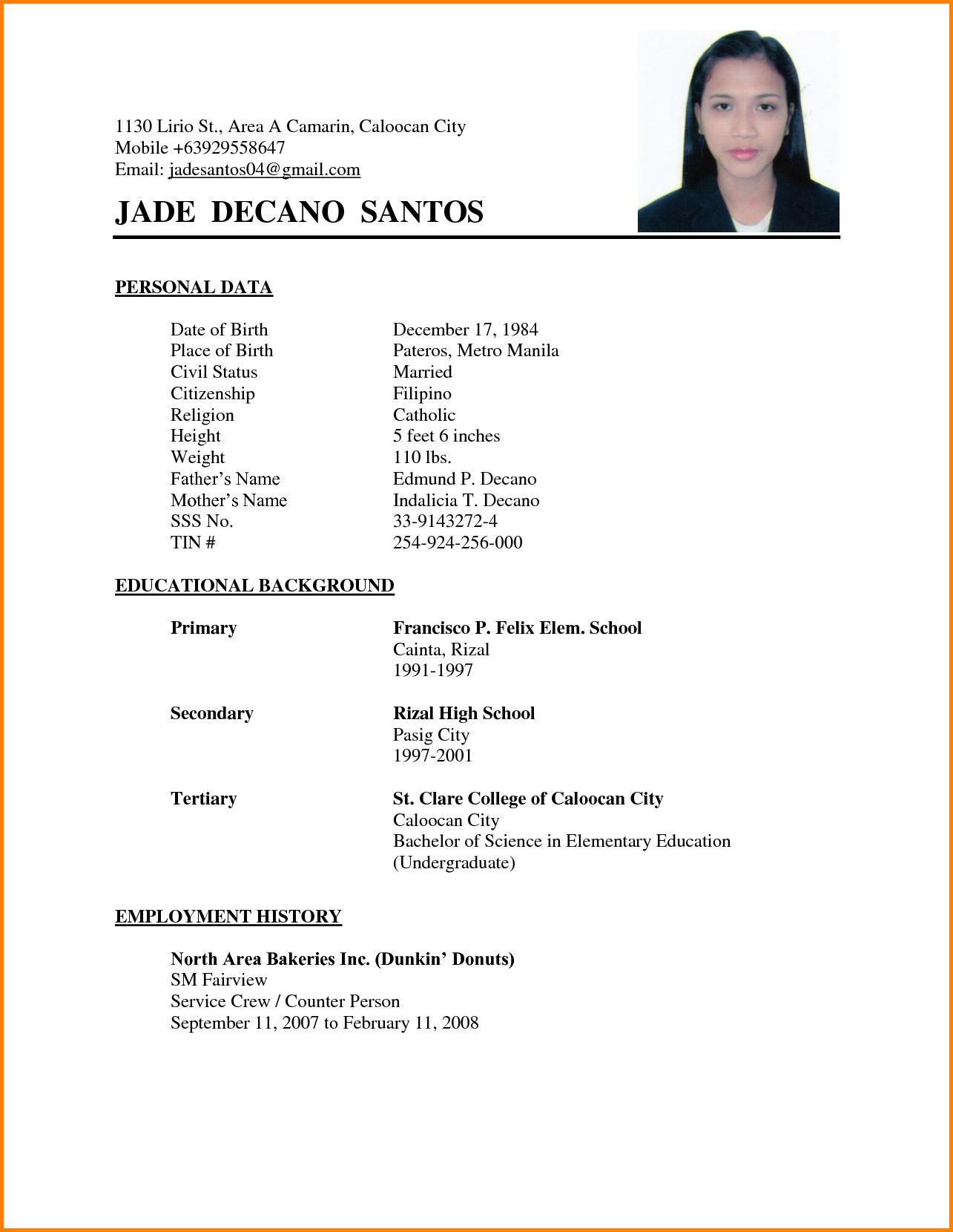 Resume Examples Philippines Resume Ixiplay Free Resume