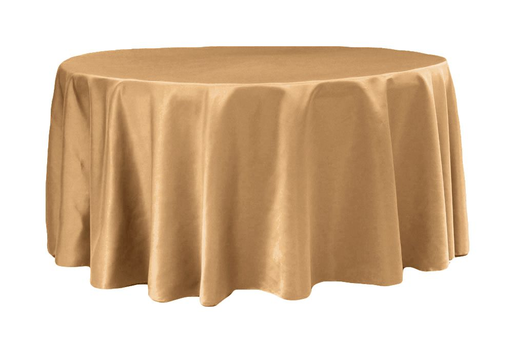 "Lamour Satin 132"" Round Tablecloth Gold Antique Round"