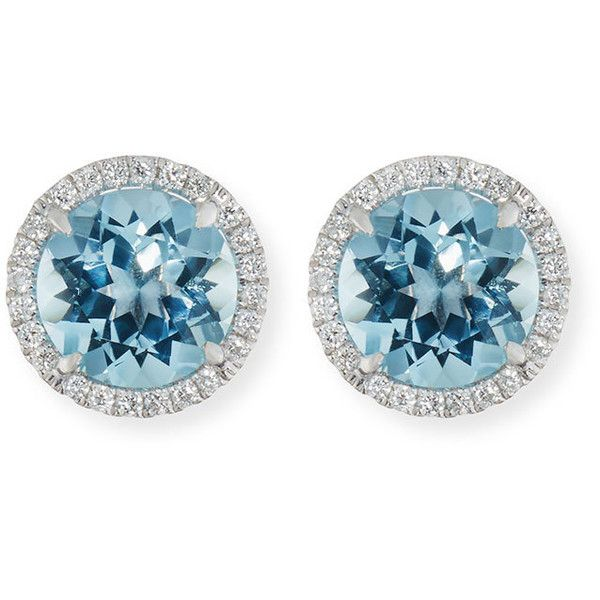Frederic Sage 18K White Gold Blue Topaz Diamond Halo Stud Earrings 5I5cS9nmMF