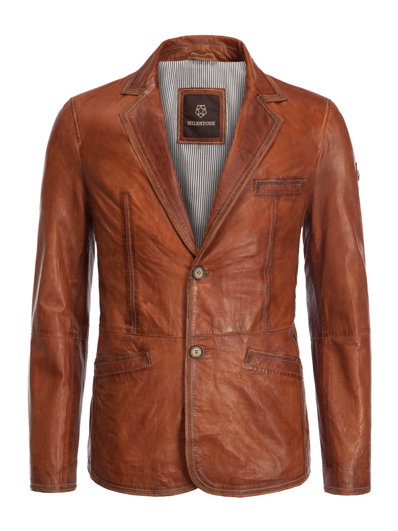 Milestone Softes Vintage Leather Jacket cognac Men's